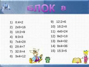 8:4=2 2х8=16 18:2=9 9:3=3 7х4=28 28:4=7 32:8=4 3х4=12 12:2=6 16:2=8 4х6=24 9