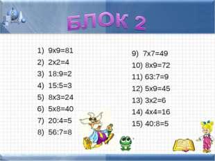 9х9=81 2х2=4 18:9=2 15:5=3 8х3=24 5х8=40 20:4=5 56:7=8 7х7=49 8х9=72 63:7=9 5