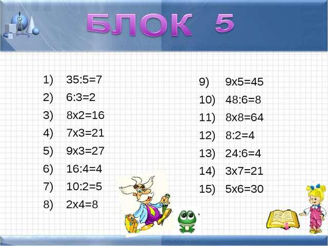 35:5=7 6:3=2 8х2=16 7х3=21 9х3=27 16:4=4 10:2=5 2х4=8 9х5=45 48:6=8 8х8=64 8...