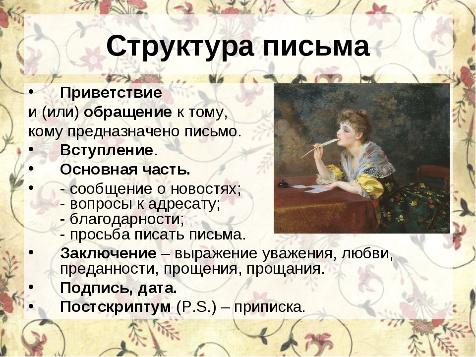 Структура письма Приветствие и (или) обращение к тому, кому предназначено пис...