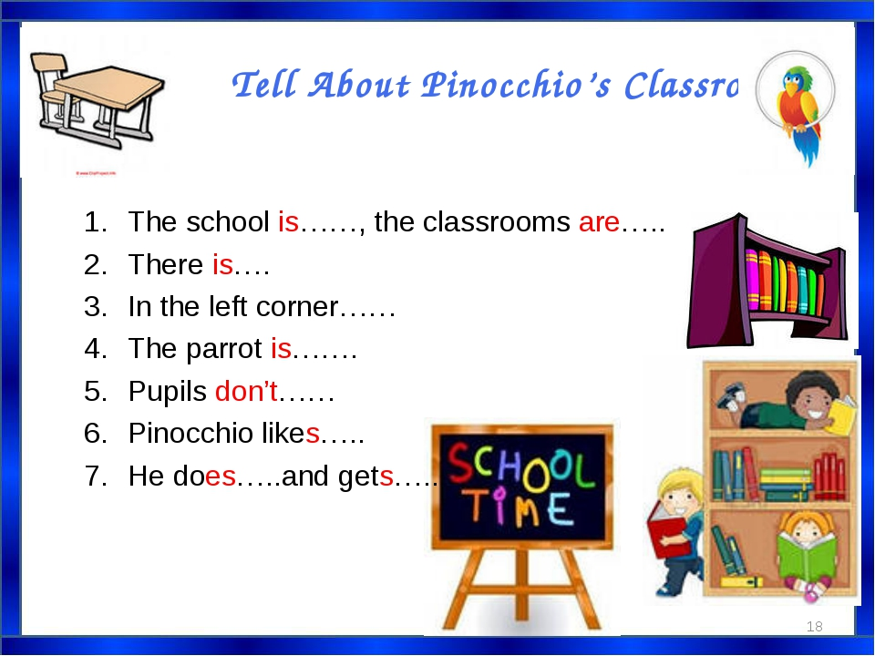 Tell About Pinocchio's Classroom. * The school is……, the classrooms are….. Th...