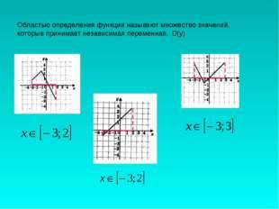 Областью определения функции называют множество значений, которые принимает н