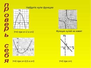 Найдите нули функции У=0 при х=-2 и х=2 Функция нулей не имеет У=0 при х=-0,5