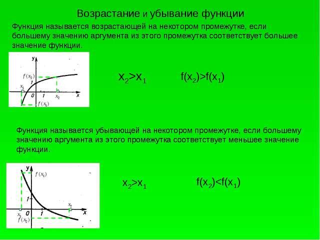 Возрастание и убывание функции Функция называется возрастающей на некотором п...