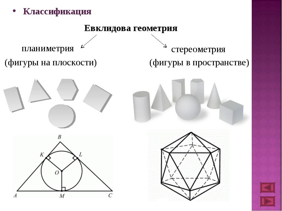 Классификация Евклидова геометрия планиметрия стереометрия (фигуры на плоскос...