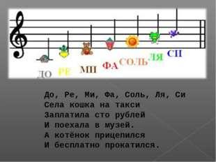 До, Ре, Ми, Фа, Соль, Ля, Си Села кошка на такси Заплатила сто рублей И поеха