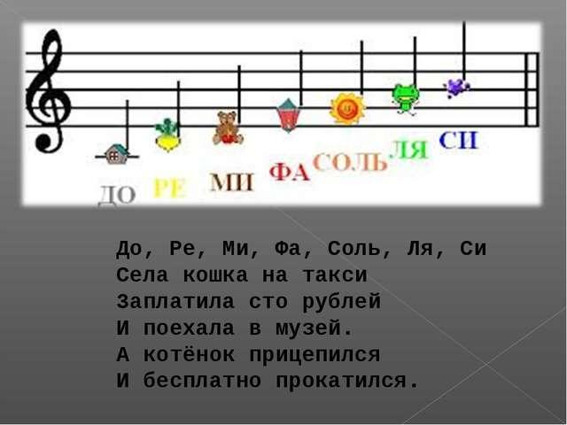 До, Ре, Ми, Фа, Соль, Ля, Си Села кошка на такси Заплатила сто рублей И поеха...