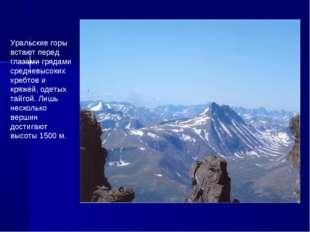 Уральские горы встают перед глазами грядами средневысоких хребтов и кряжей, о