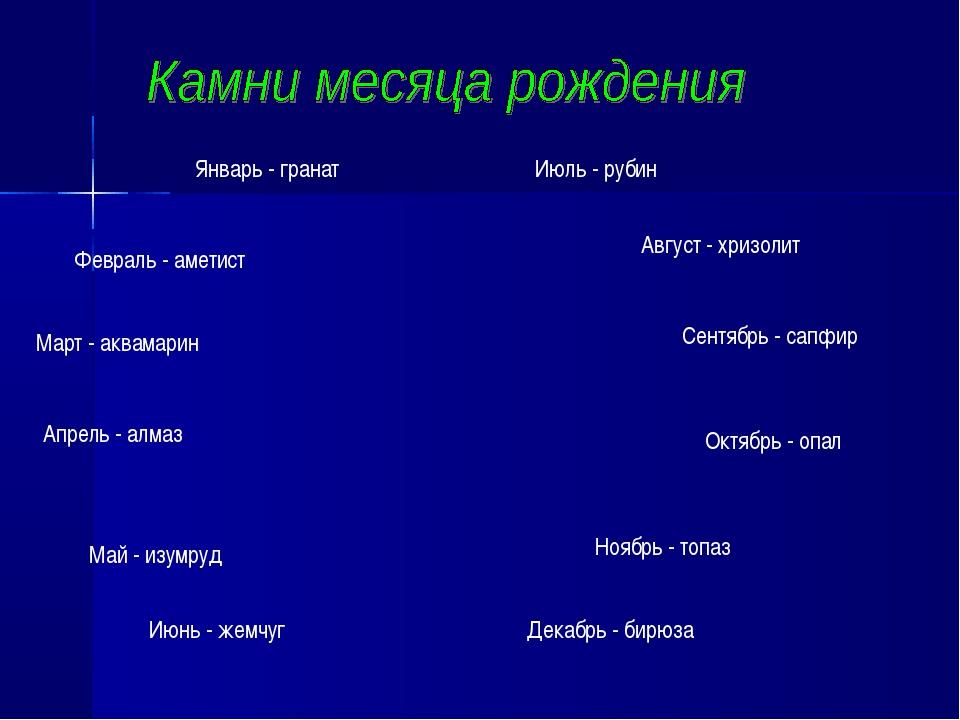 Январь - гранат Февраль - аметист Апрель - алмаз Март - аквамарин Май - изумр...