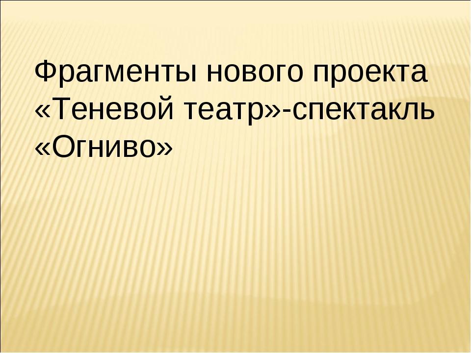 Фрагменты нового проекта «Теневой театр»-спектакль «Огниво»