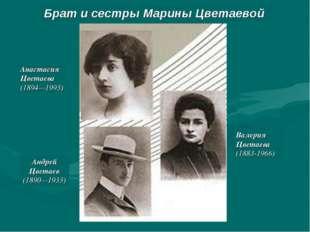 Анастасия Цветаева (1894—1993) Андрей Цветаев (1890—1933) Валерия Цветаева (1