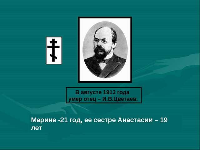 В августе 1913 года умер отец – И.В.Цветаев. Марине -21 год, ее сестре Анаста...