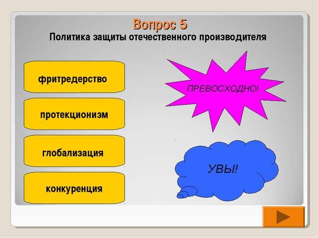 Вопрос 5 Политика защиты отечественного производителя фритредерство протекцио...