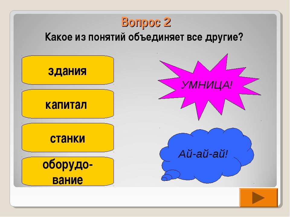 Вопрос 2 Какое из понятий объединяет все другие? здания капитал станки оборуд...