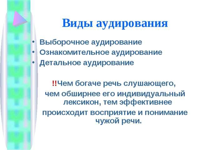 Виды аудирования Выборочное аудирование Ознакомительное аудирование Детальное...