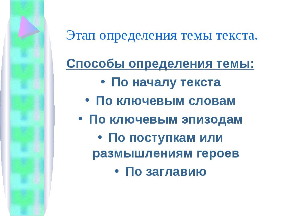 Этап определения темы текста. Способы определения темы: По началу текста По к...