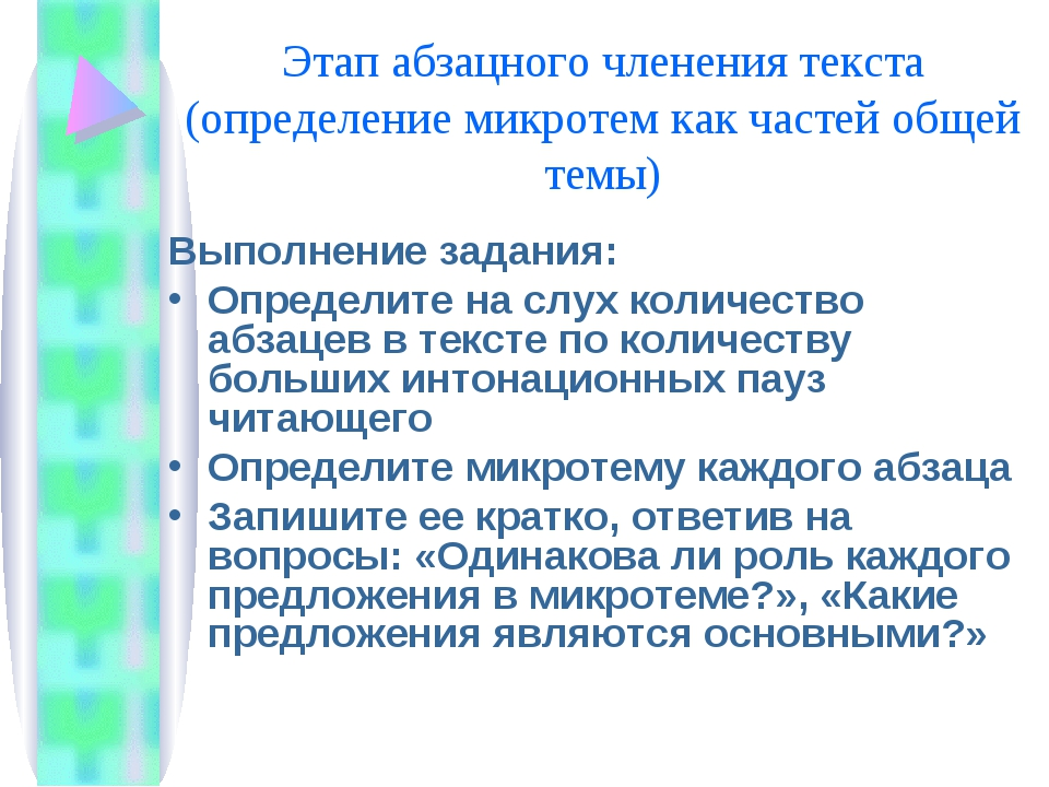 Этап абзацного членения текста (определение микротем как частей общей темы) В...