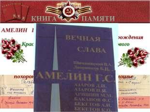 АМЕЛИН ГРИГОРИЙ СЕМЕНОВИЧ 1903 года рождения Красноармеец, стрелок 1004 стрел