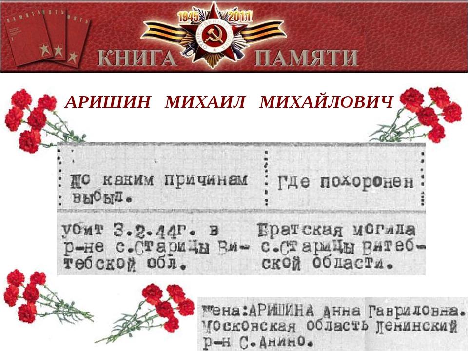 АРИШИН МИХАИЛ МИХАЙЛОВИЧ