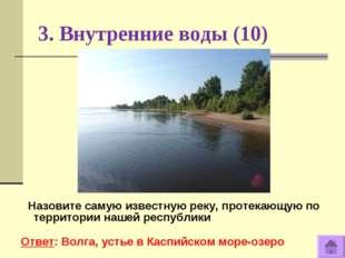 3. Внутренние воды (10) Назовите самую известную реку, протекающую по террито