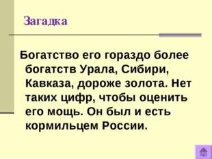 Загадка Богатство его гораздо более богатств Урала, Сибири, Кавказа, дороже з