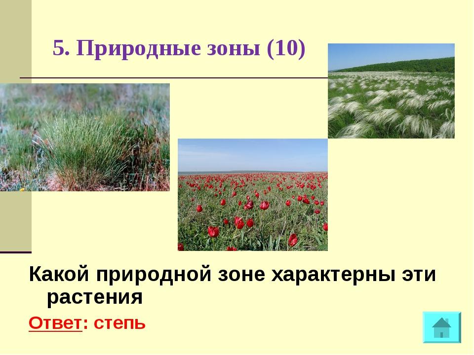 5. Природные зоны (10) Какой природной зоне характерны эти растения Ответ: ст...