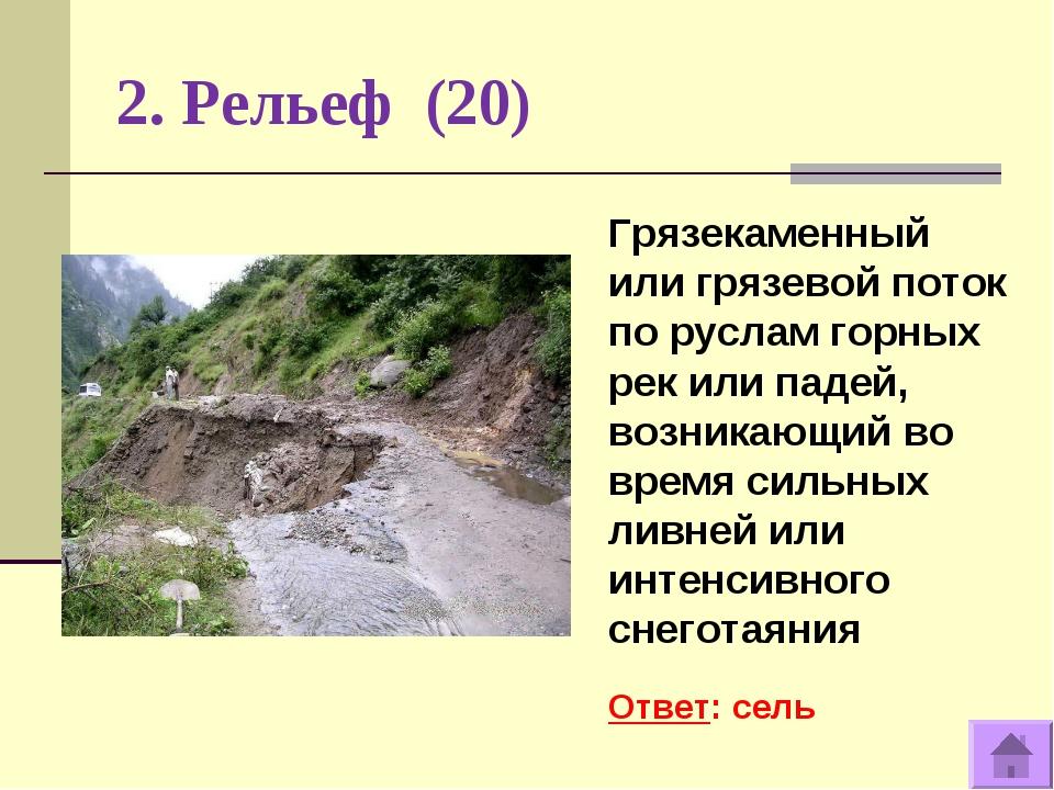 2. Рельеф (20) Грязекаменный или грязевой поток по руслам горных рек или паде...