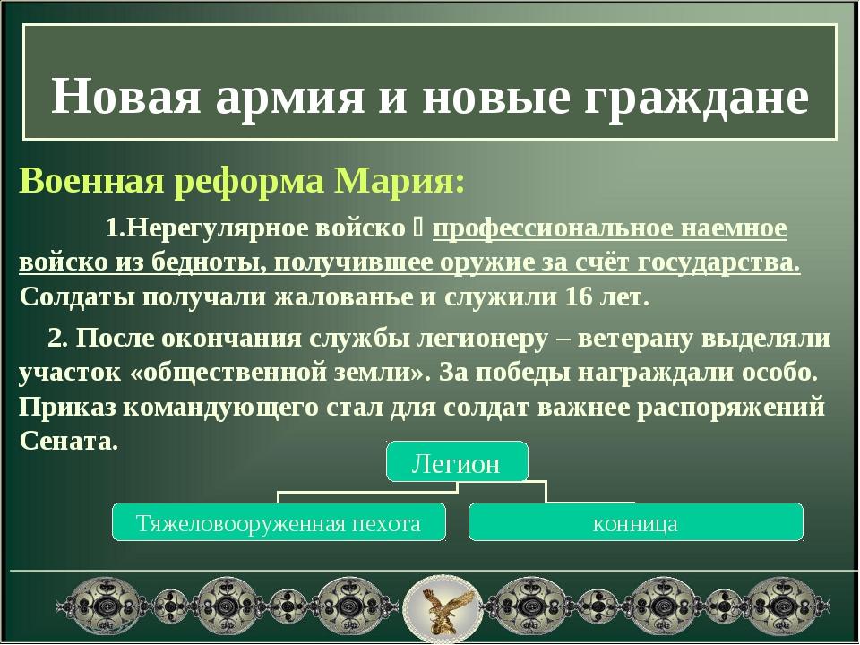 Военная реформа Мария: 1.Нерегулярное войско  профессиональное наемное войс...