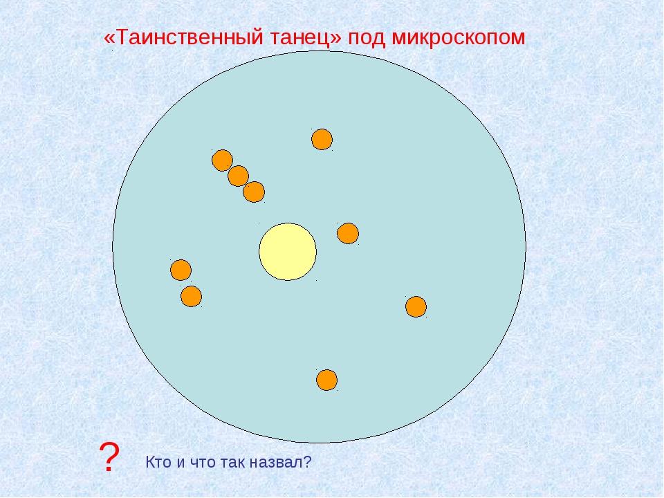 «Таинственный танец» под микроскопом Кто и что так назвал? ?