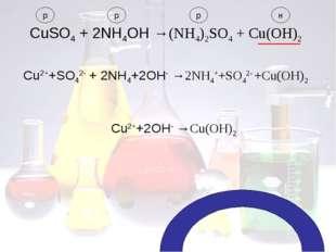 CuSO4 + 2NH4OH →(NH4)2SO4 + Cu(OH)2 р р р н Cu2++SO42- + 2NH4+2OH- →2NH4++SO4