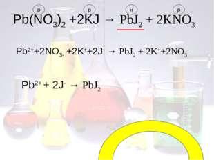 Pb(NO3)2 +2KJ → PbJ2 + 2KNO3 Pb2++2NO3- +2K++2J- → PbJ2 + 2K++2NO3- Pb2+ + 2J