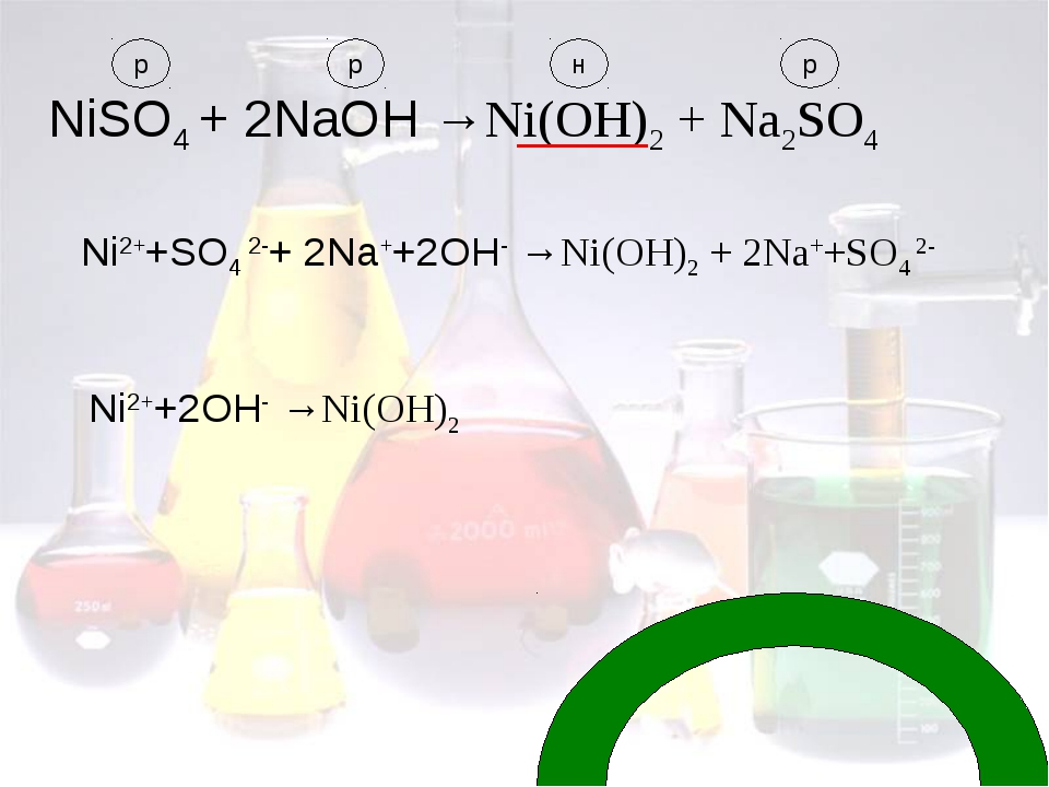 NiSO4 + 2NaOH →Ni(OH)2 + Nа2SO4 Ni2++SO4 2-+ 2Na++2OH- →Ni(OH)2 + 2Nа++SO4 2-...