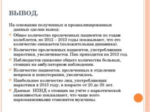 ВЫВОД. На основании полученных и проанализированных данных сделан вывод: Обще