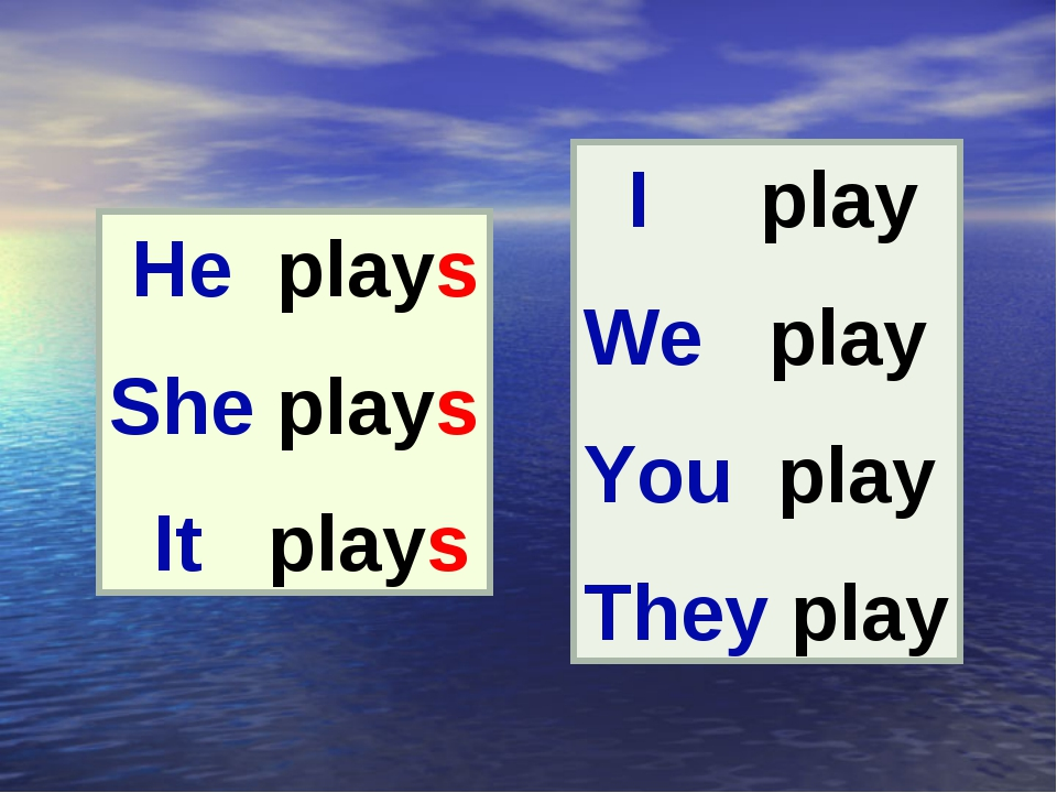 He plays She plays It plays I play We play You play They play