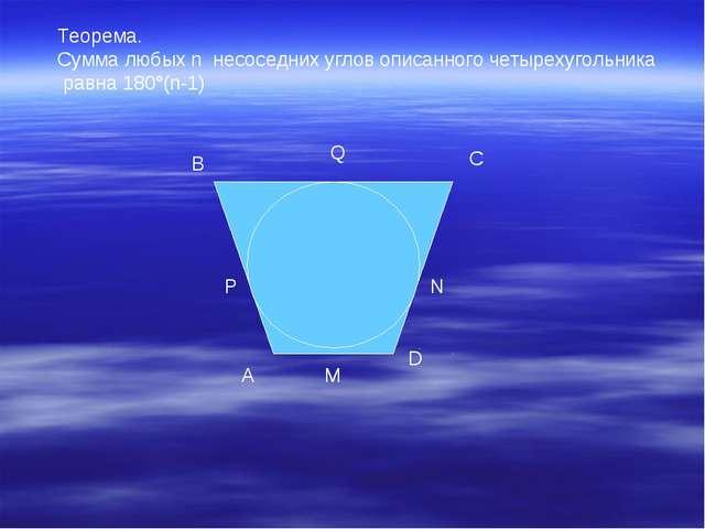 Теорема. Сумма любых n несоседних углов описанного четырехугольника равна 180...