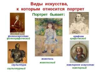 Виды искусства, к которым относится портрет графика ювелирное искусство скуль