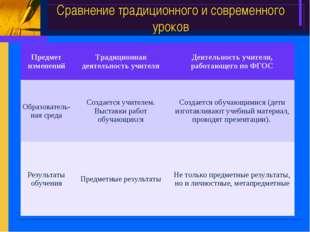Сравнение традиционного и современного уроков Предмет измененийТрадиционная
