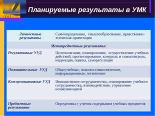 Планируемые результаты в УМК Личностные результатыСамоопределение, смыслообр