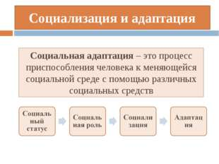 Социализация и адаптация Социальная адаптация – это процесс приспособления че