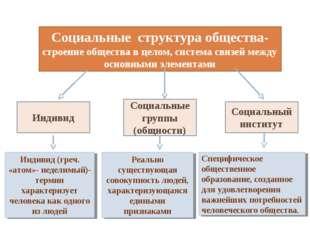 Социальные структура общества- строение общества в целом, система связей межд