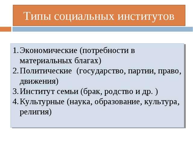 Типы социальных институтов Экономические (потребности в материальных благах)...