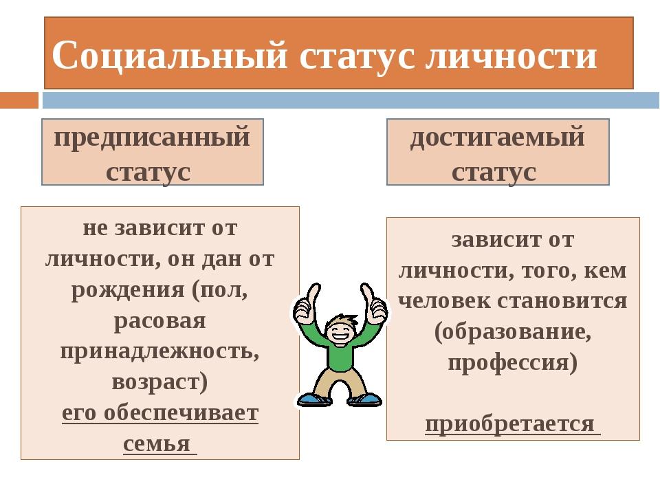 Предписанным статусом личности является статус