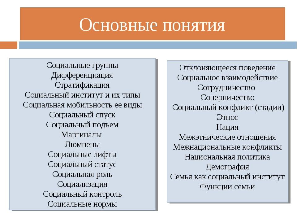 Основные понятия Социальные группы Дифференциация Стратификация Социальный ин...