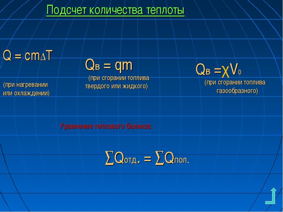 Подсчет количества теплоты Q = cm∆Т (при нагревании или охлаждении) Qв = qm (...