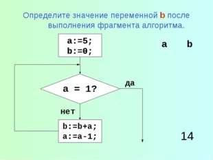 Определите значение переменной b после выполнения фрагмента алгоритма. 14 ab