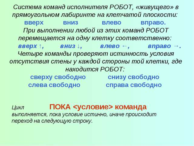 Система команд исполнителя РОБОТ, «живущего» в прямоугольном лабиринте на кле...