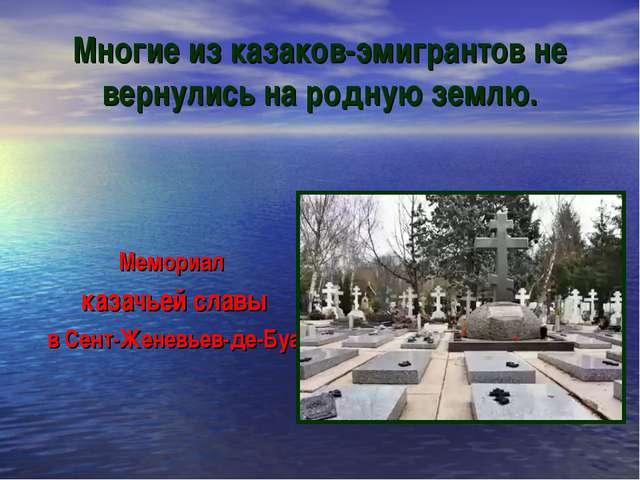 Многие из казаков-эмигрантов не вернулись на родную землю. Мемориал казачьей...