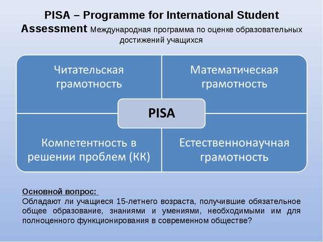 PISA – Programme for International Student Assessment Международная программа...