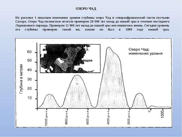 На рисунке 1 показано изменение уровня глубины озера Чад в североафриканской...