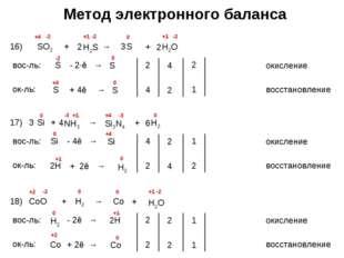Метод электронного баланса 16) SO2 + H2S → S -2 +1 -2 +1 вос-ль: окисление S